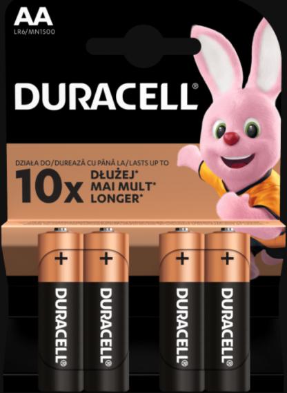 Baterii alcaline Duracell AA, 4 bucati -