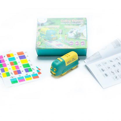 Tren inteligent Robobloq Coding Express, programabil prin culori, cu 22 de functii, compatibil cu sinele IKEA -