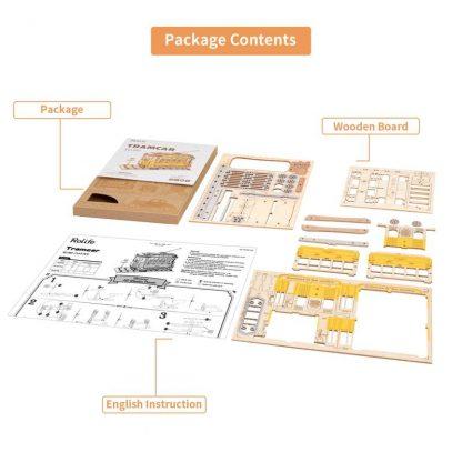 PUZZLE 3D ROLIFE® TG505 TRAMVAI, LEMN, 145 PIESE -