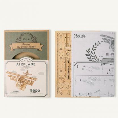 PUZZLE 3D ROLIFE® AVION TG301, LEMN, 145 PIESE -